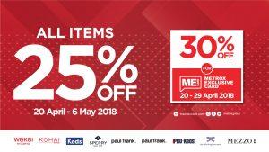 Metroxgroup menyelenggarakan promo diskon 25% dalam rangka merayakan Hari Kartini.