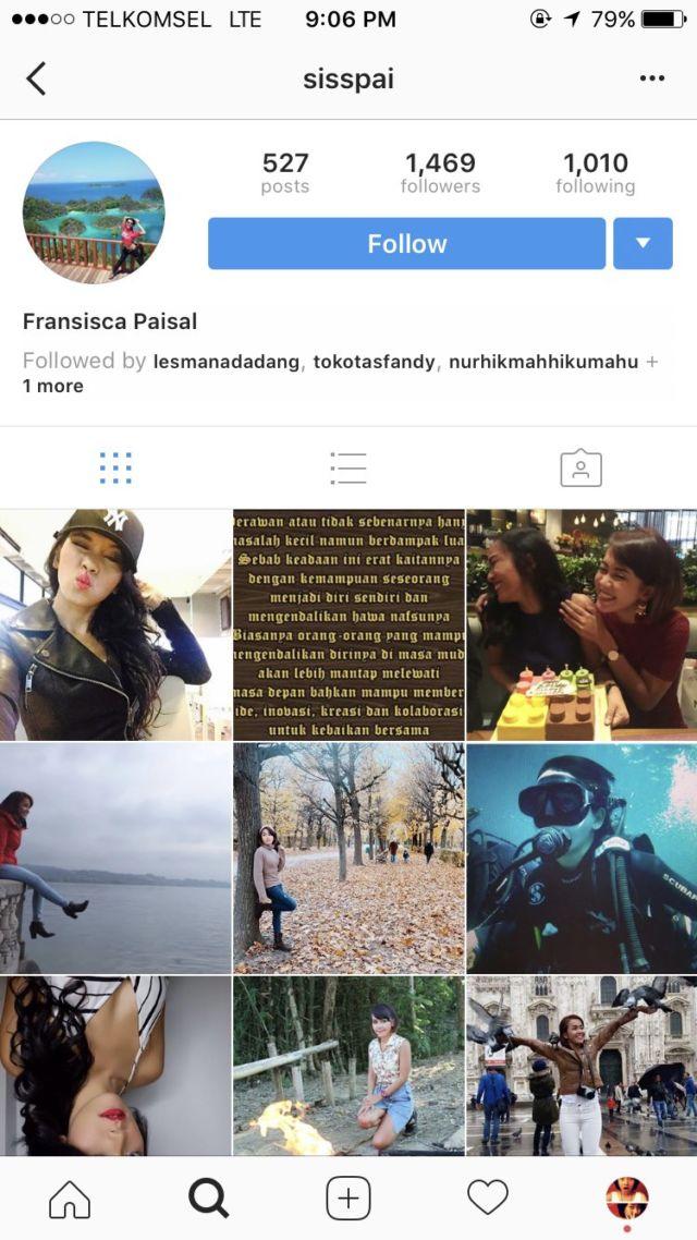 Instagram Fransisca Paisal alias Sisspai