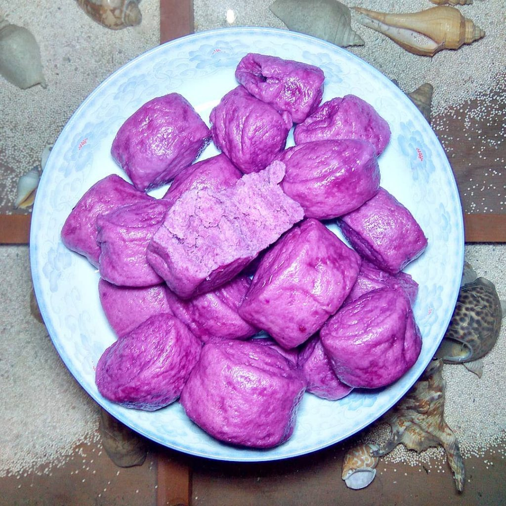 steamed purple sweet potato buns (mantao) cup steamed purple sweet potatoes chunks