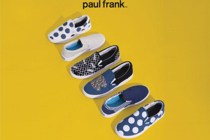 Koleksi sepatu slip on Paul Frank hadir dalam 11 varian model dan warna.